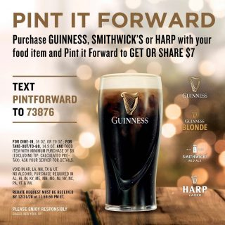 Pint it Forward this weekend with three easy steps! ▪️ Step 1: Text PINTFORWARD to 73876, ▪️Step 2: You will a text with a link, click the link and input your information, ▪️ Step 3: Choose if you want to keep the $7 rebate or