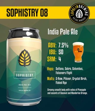 Limited amount in stock! Lupulin's Sophistry series #8 IPA- 7.5% ABV. Available in 4pk 16oz cans. #bevdistcle #cleveland #ipa #craftbeer