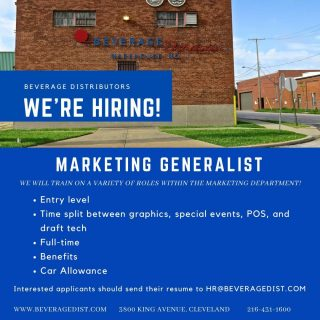🗣️ We are hiring! Beverage Distributors is quickly growing and we are in need of motivated, energetic people to join our team! If this sounds like you, e-mail us at hr@beveragedist.com. #bevdistcle #cleveland #clevelandjobs #jobopening