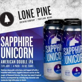 Sapphire Unicorn from Lone Pine Brewery an American Double IPA- 7.8% ABV! Now available on draft and in cans 🦄 🍻. #bevdistcle #cleveland #BeersToThat #craftbeer