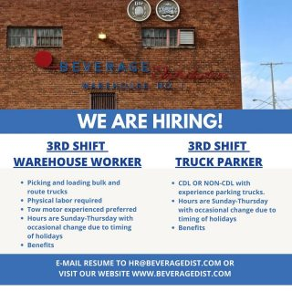 Come join our team! A few more job openings have become available at BDI. You can e-mail your resume to hr@beveragedist.com or visit our website www.beveragedist.com to fill out an application. #bevdistcle #jobopening #ClevelandJobs #3rdshift #warehouse