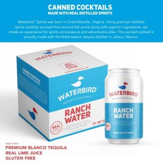 Proudly made with real, premium blanco tequila distilled in Jalisco, Mexico. Waterbird's Ranch Water is 5% ABV, 100 Calories and low in sugar and carbohydrates! #bevdistcle #cleveland #waterbird #cannedcocktails