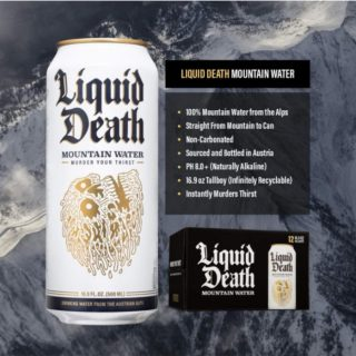 STRAIGHT FROM MOUNTAIN TO CAN. Most major bottled water brands are actually just processed municipal tap water. Liquid Death comes from a deep underground mountain source protected by a few hundred feet of stone. #bevdistcle #cleveland #water #DeathToPlastic
