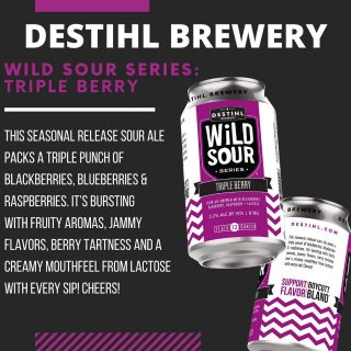 Now available in 4 pack- 12oz cans. Sour Ale with Blackberry, Blueberry, Raspberry & Lactose- 5.2% ABV. #bevdistcle #cleveland #sourale #craftbeer