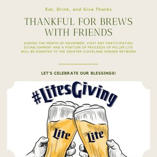 Visit any participating establishment during the month of November and a portion of the proceeds of Miller Lite will be donated to the Greater Cleveland Hunger Network! #bevdistcle #cleveland #millerlite #hungernetworkofgreatercleveland #charity #givethanks