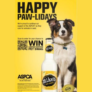 Our friends at @mikeshardlemonade are proud to continue their support of the @aspca, as they care for animals in need. Scan the QR code for your chance to win limited edition pet swag! 🐶 🍋 Contest ends 12/31/20. #bevdistcle #cleveland #charity #aspca