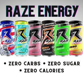 ⚡️RAZE ENERGY⚡️Now Available! ▫️Voodoo ▫️Apollo ▫️Strawberry Colada ▫️Galaxy Burst ▫️Sour Gummy Worms ▫️Baja Lime #bevdistcle #cleveland #energydrink #zerosugar #zerocarb #zerocalories
